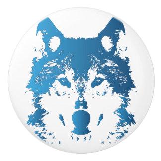 Illustrations-Eis-Blau-Wolf Keramikknauf