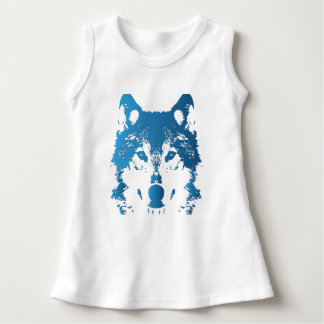 Illustrations-Eis-Blau-Wolf Kleid