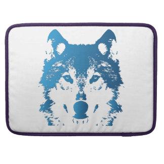 Illustrations-Eis-Blau-Wolf MacBook Pro Sleeve