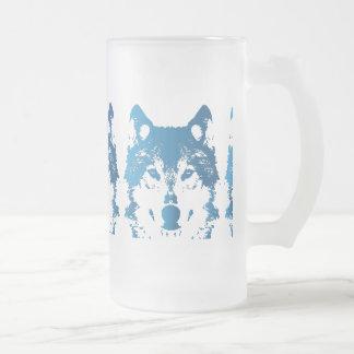 Illustrations-Eis-Blau-Wolf Mattglas Bierglas