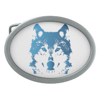 Illustrations-Eis-Blau-Wolf Ovale Gürtelschnallen