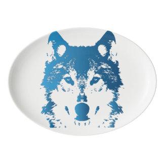 Illustrations-Eis-Blau-Wolf Porzellan Servierplatte