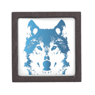 Illustrations-Eis-Blau-Wolf Schachtel