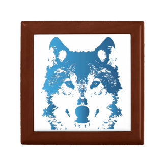Illustrations-Eis-Blau-Wolf Schmuckschachtel