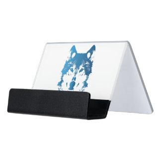 Illustrations-Eis-Blau-Wolf Schreibtisch-Visitenkartenhalter