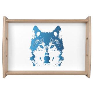 Illustrations-Eis-Blau-Wolf Serviertablett