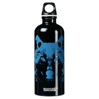 Illustrations-Eis-Blau-Wolf Wasserflasche