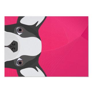 Illustrations-französische Bulldogge mit rosa 11,4 X 15,9 Cm Einladungskarte