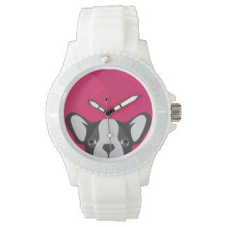 Illustrations-französische Bulldogge mit rosa Armbanduhr