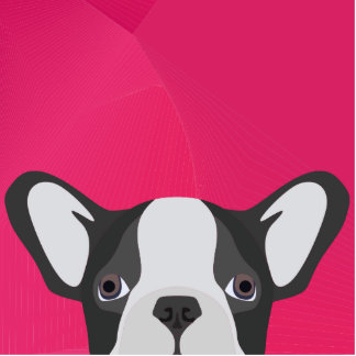 Illustrations-französische Bulldogge mit rosa Fotoskulptur Ornament