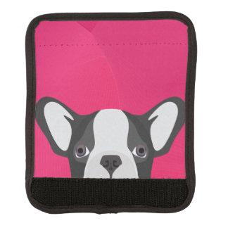 Illustrations-französische Bulldogge mit rosa Gepäck Markierung