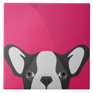 Illustrations-französische Bulldogge mit rosa Keramikfliese