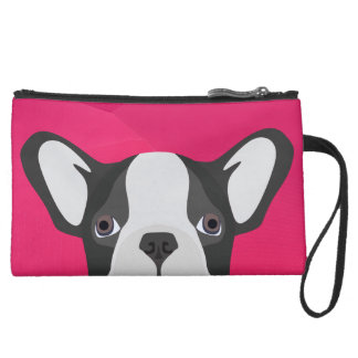 Illustrations-französische Bulldogge mit rosa Mini Velour Clutch