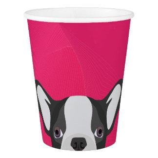 Illustrations-französische Bulldogge mit rosa Pappbecher