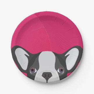 Illustrations-französische Bulldogge mit rosa Pappteller