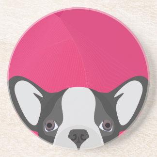 Illustrations-französische Bulldogge mit rosa Sandstein Untersetzer