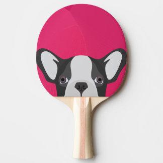 Illustrations-französische Bulldogge mit rosa Tischtennis Schläger