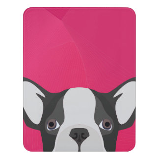 Illustrations-französische Bulldogge mit rosa Türschild