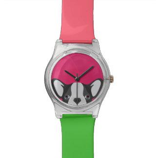 Illustrations-französische Bulldogge mit rosa Uhr