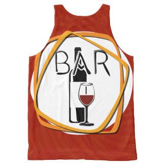 Illustrations-Glas Wein in einem Bar Komplett Bedrucktes Tanktop