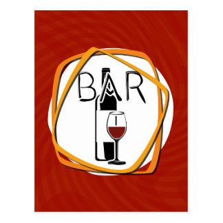 Illustrations-Glas Wein in einem Bar Postkarte
