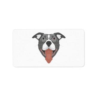 Illustrations-Hund lächelndes Pitbull Adressaufkleber