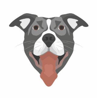 Illustrations-Hund lächelndes Pitbull Fotoskulptur Button