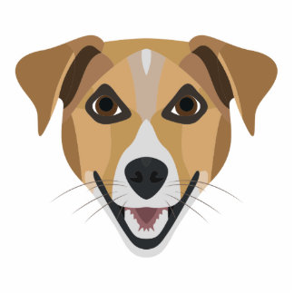 Illustrations-Hund lächelndes Terrier Fotoskulptur Button