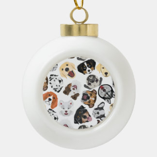 Illustrations-Muster-Hunde Keramik Kugel-Ornament