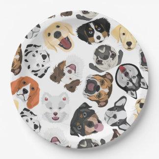 Illustrations-Muster-Hunde Pappteller