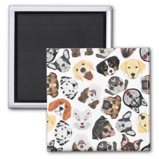 Illustrations-Muster-Hunde Quadratischer Magnet