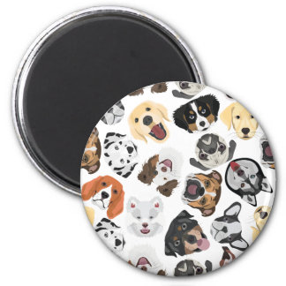 Illustrations-Muster-Hunde Runder Magnet 5,7 Cm