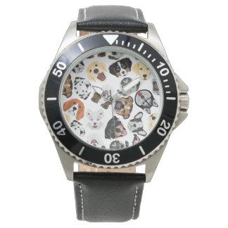 Illustrations-Muster-Hunde Uhr