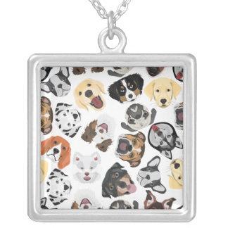 Illustrations-Muster-Hunde Versilberte Kette