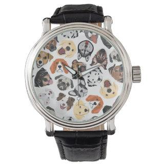 Illustrations-Muster-süße inländische Hunde Armbanduhr