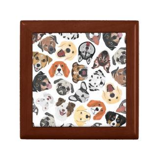 Illustrations-Muster-süße inländische Hunde Erinnerungskiste