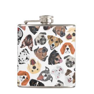 Illustrations-Muster-süße inländische Hunde Flachmann
