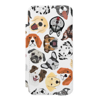 Illustrations-Muster-süße inländische Hunde Incipio Watson™ iPhone 5 Geldbörsen Hülle
