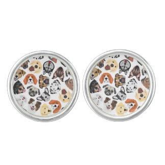 Illustrations-Muster-süße inländische Hunde Manschetten Knöpfe