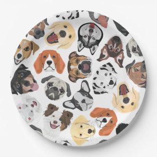 Illustrations-Muster-süße inländische Hunde Pappteller