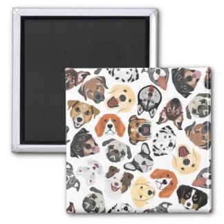 Illustrations-Muster-süße inländische Hunde Quadratischer Magnet