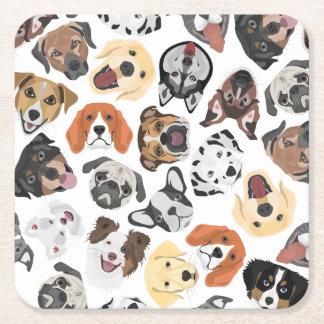 Illustrations-Muster-süße inländische Hunde Rechteckiger Pappuntersetzer
