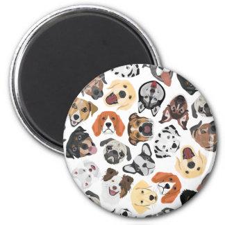 Illustrations-Muster-süße inländische Hunde Runder Magnet 5,1 Cm