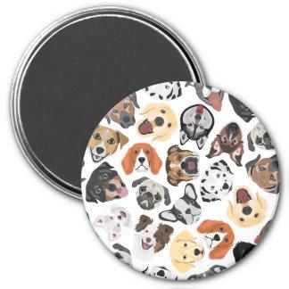 Illustrations-Muster-süße inländische Hunde Runder Magnet 7,6 Cm