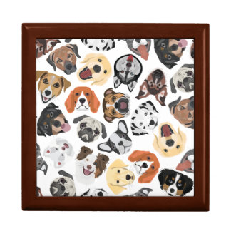 Illustrations-Muster-süße inländische Hunde Schmuckschachtel
