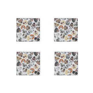 Illustrations-Muster-süße inländische Hunde Steinmagnet