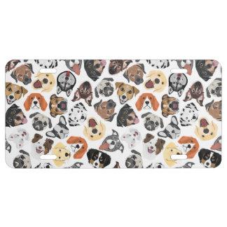 Illustrations-Muster-süße inländische Hunde US Nummernschild