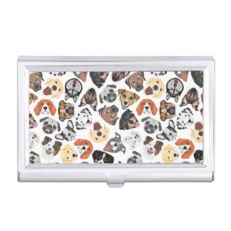 Illustrations-Muster-süße inländische Hunde Visitenkarten Dose