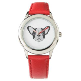 Illustrations-niedliche französische Bulldogge Armbanduhr