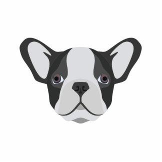 Illustrations-niedliche französische Bulldogge Fotoskulptur Button